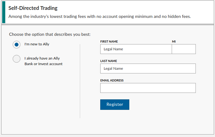 Opening an account with Ally