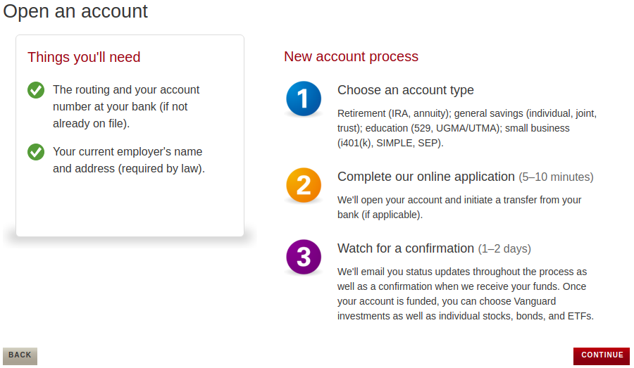 Opening an account with Vanguard1